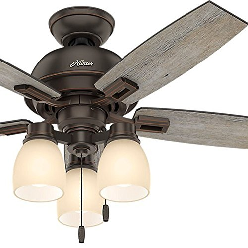 Hunter 44 in. Casual Ceiling Fan in Onyx Bengal with LED Lights (Certified Refurbished) by Hunter Fan Company