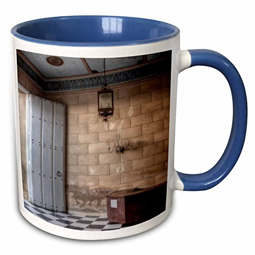 3dRose RONI CHASTAIN PHOTOGRAPHY - DOOR, DESK, LIGHT, FLOOR - 15oz Two-Tone Blue Mug -