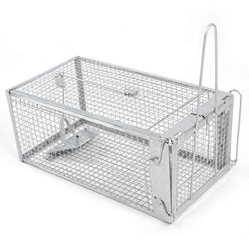 H&B Luxuries Rat Trap - Humane Live Animal Cage for Rat Mouse Hamster Mole Weasel Gopher Chipmunk Squirrels and More Rodents (2-Medium-KM002) ()