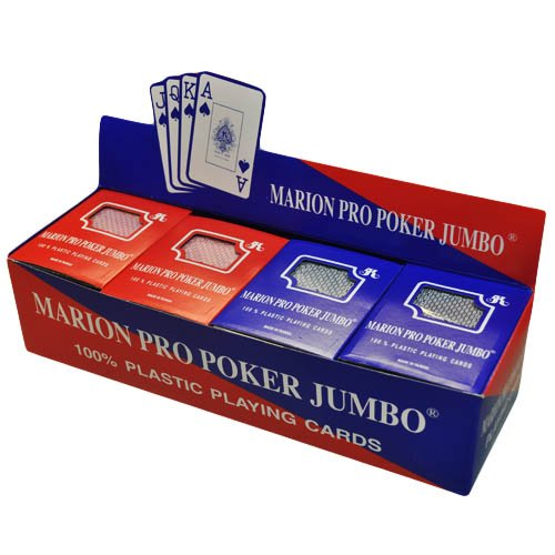 Box of 12 decks of 100% Plastic Marion Pro Poker Playing Cards - Jumbo index by Marion & Co