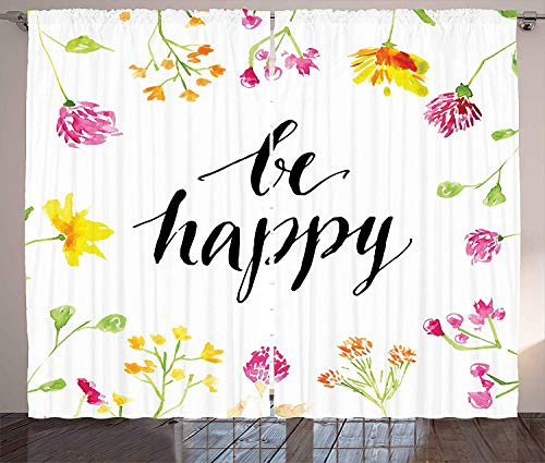 (Blackout Curtain Panels for Bedroom Windows Quote Kitchen Curtains Positive Vibes Spring Revival Floral Be Happy Phrase Framed by Colorful Wild Flowers,2 Panels,52
