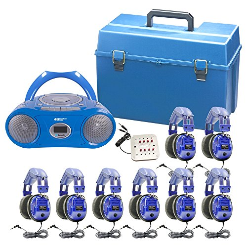 - HamiltonBuhl Kids 8 Person Listening Center with Bluetooth, CD/Cassette/FM Boombox and Deluxe Over-Ear Blue Kids Headphones