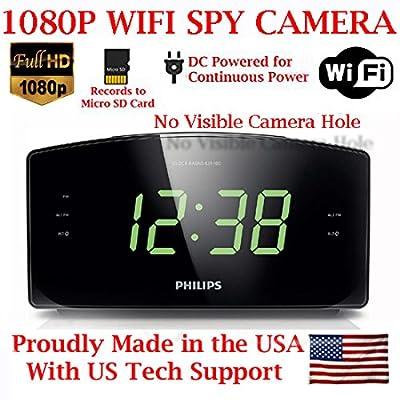 Image of AES 1080P HD WiFi Alarm Clock Radio Spy Camera Wireless IP P2P Covert Hidden Nanny Camera Spy Gadget (1080P WI-FI Model) Hidden Cameras