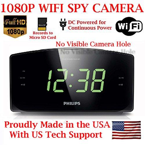 Radio Spy - AES 1080P HD WiFi Alarm Clock Radio Spy Camera Wireless IP P2P Covert Hidden Nanny Camera Spy Gadget (1080P WI-FI Model)