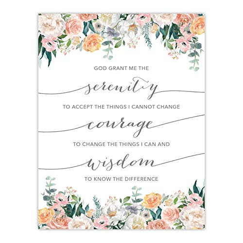 Andaz Press Unframed Christian Bible Verses 85x11inch Floral Roses Poster Serenity Courage Wisdom Prayer 1Pack Biblical Quotes Minimalist Gift for New Couple Bride Groom Wedding