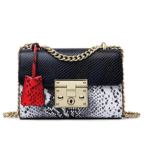 Leo Lamb Brand Women Messenger Bag Genuine Leather Serpentine Panelled Crossbody Bag Fashion Design Shoulder Bag Dark Blue