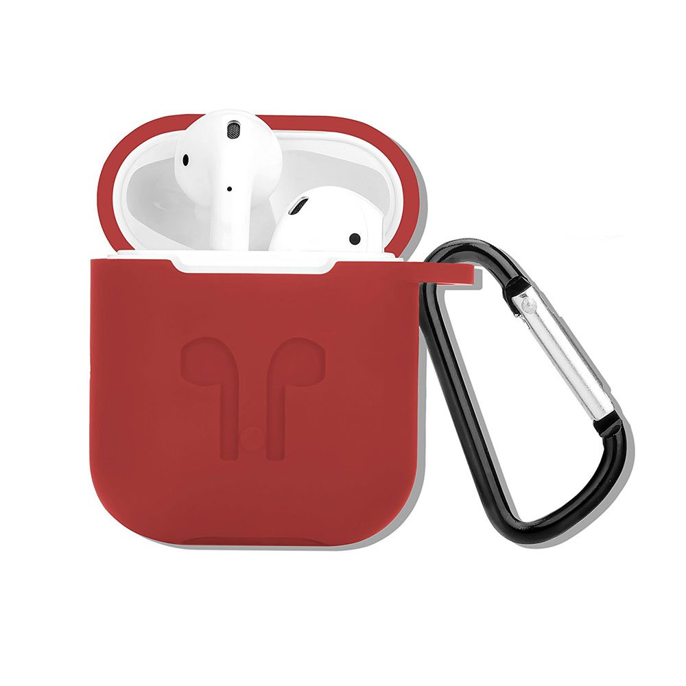 4 In 1 AirPods Silicone Case, Telegaming Shockproof Protection Charging Case Storage Pouch Box + Anti-lost Headphone Strap + Ear Cover Hooks + Carabiner Keychain For Apple AirPods For Earpods Teal Ivy