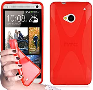 Cadorabo – Silicone Case X-LINE SLIM-FLEX for HTC ONE M7 – Etui Cover Protection Bumper Skin in CANDY-APPLE-RED
