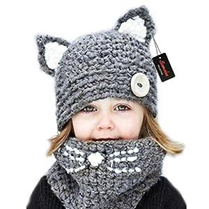 Sumolux Winter Kids Warm Cat Animal Hats Knitted Coif Hood Scarf Beanies Autumn Winter