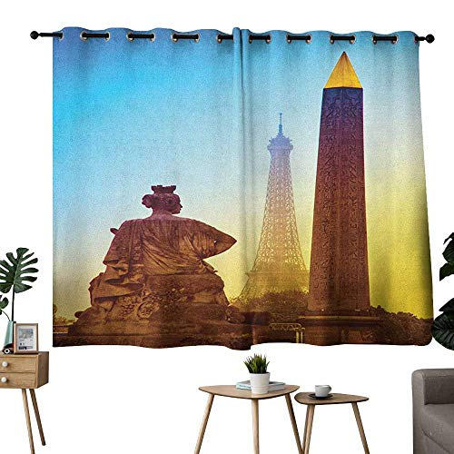 Zmcongz Warm Curtain Eiffel Tower France Place De La Concorde Obelisk and The Landmark of The City Caramel Yellow Blue Tie Up Window Drapes Living Room W55 xL45