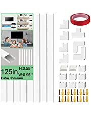 Cable Concealer On-Cord Cover Raceway Kit - Paintable Cord Concealer System Cable Hider, Cord Wires, Hiding Wall Mount TV Powers