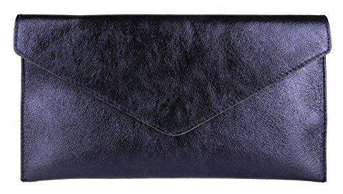 Brand Verapelle Genuine Italian Suede Large Envelope Shaped Clutch bag Purse handbag Rebecca Clutch Party Prom Clutch Metalic Navy