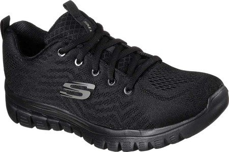 Skechers Damen Graceful-Get Connected Sneaker Schwarz Schwarz