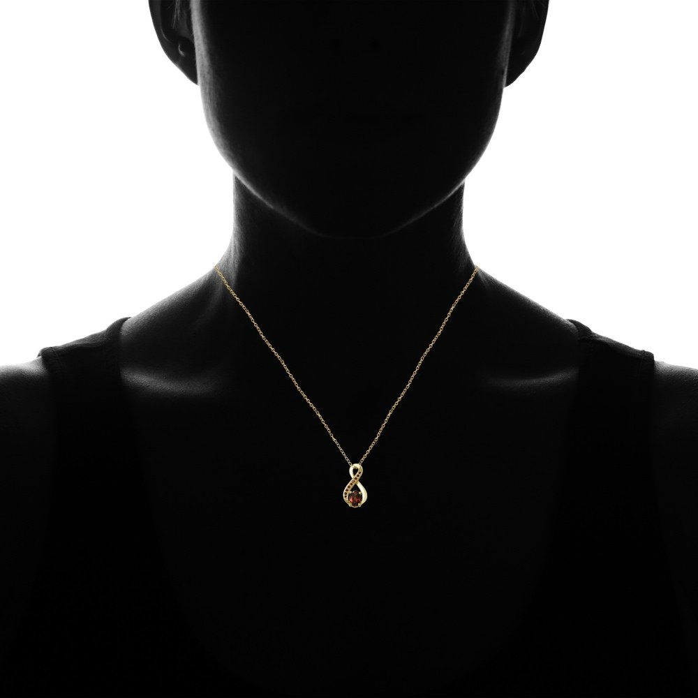 Ice Gems Sterling Silver Garnet Infinity Drop Necklace