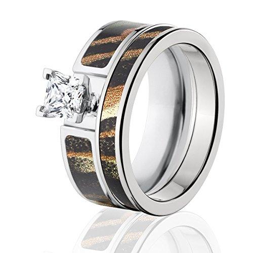 Mossy Oak Camo Bridal Set, Camo Wedding Rings, Shadow Grass Camo Rings