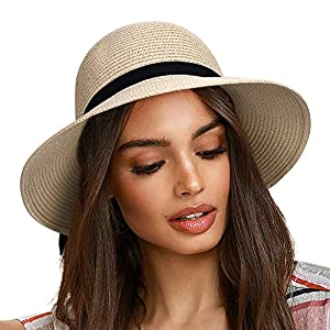 FURTALK Sun Hats for Women Brim Straw Hat Beach Hat UPF UV Packable Cap for Travel