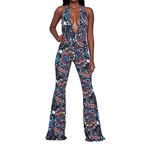 Slim Bloom Women's Halter Backless Deep V Neck Bell Bottom Pants Bodycon Jumpsuit Romper -