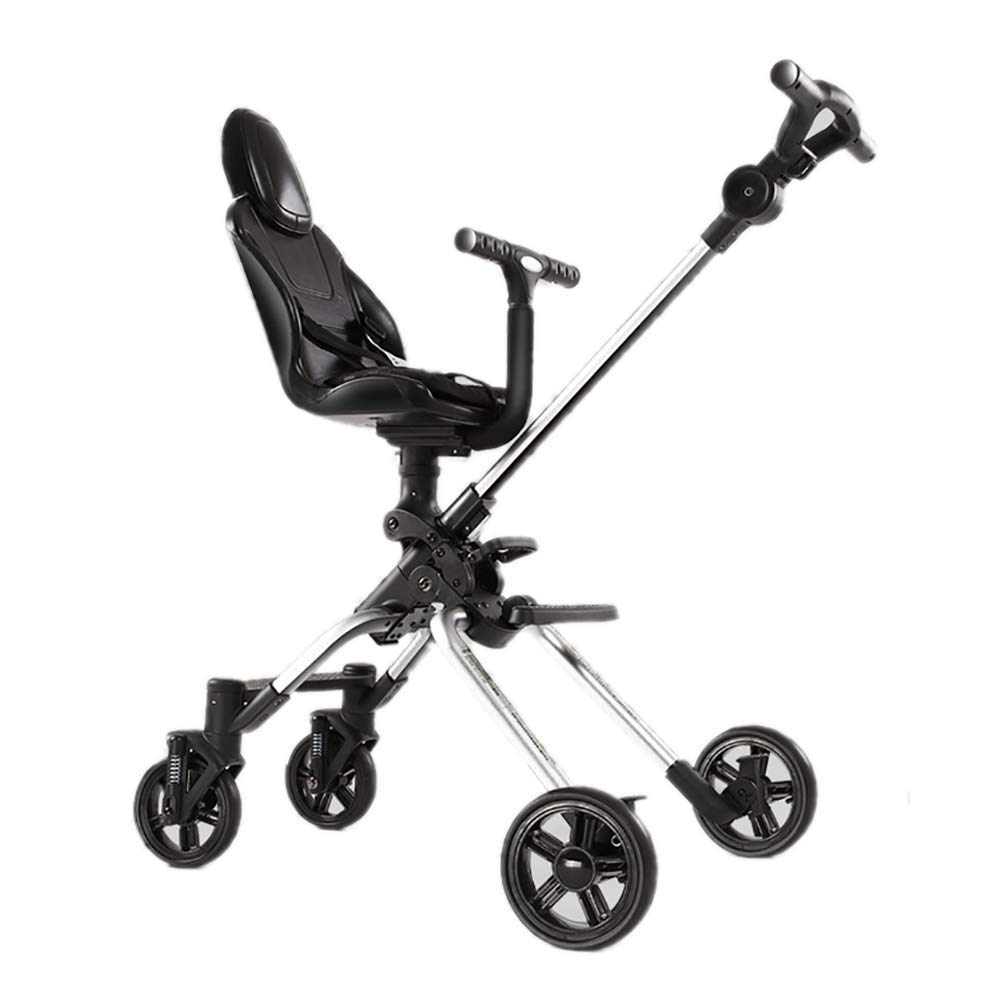 WYNZYYESTC Baby Carriage, Babys Rollover Prevention 2-3-5 Years Old Children's Tricycle Two-Way Lightweight Children's Trolley High Landscape Foldable Four Wheeler Stroller Seat rotatable Carriage