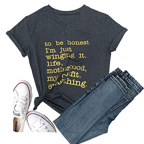 Hellopopgo Women to Be Honest I'm Just Winging it Life T-Shirt Short Sleeve Sport Mother mom Tops Tee Coffee Outdoors (Medium)]()