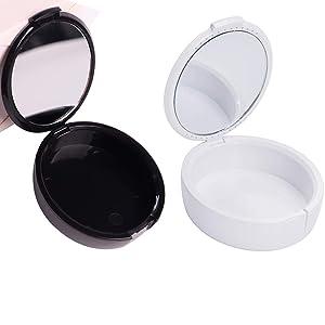 Denture Box Retainer Case Orthodontic Retainer Case with Mirror Portable Retainer Denture Box for Office,Home,Travel (Black)