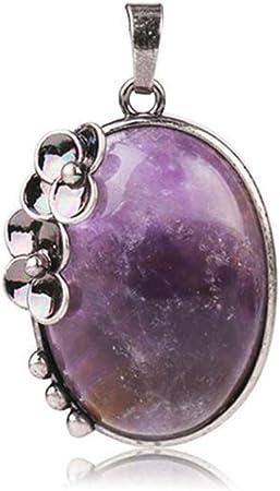 Fashion Lady plaqué argent cristal collier pierres naturelles Améthyste Pendentif
