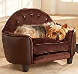 Dog Couch Bed Luxury Pet - Deluxe Button Tufted Comfort Leather in Brown - Elevated Sofa w Headboard Best for Small Dogs with Removable - Washable Cover Bundle w Rope Toy