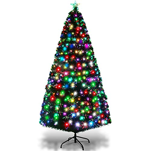 Goplus 6FT Pre-Lit Artificial Christmas Tree Optical Fiber 8 Flash Modes W/ 225 Multicolored LED Lights & Metal ()