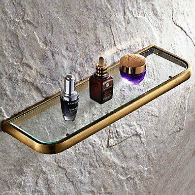 WYMBS Antique Brass Wall Mounted Bathroom Glass Shelves
