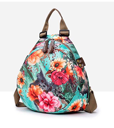 Impresión Y Casual De Mochila Escuela Floral Damas Mujeres Viaje Yaancun Compras Flores Moda Bolsa Para Ligera Calle Azul AxIwW6v1q