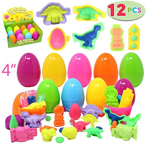 12 Prefilled Jumbo Easter Eggs (44 Pieces Total) with Clay Dough Doh and 3D Dinosaur Shapes for Basket Stuffers, Spring Gift Set Bundle, Easter Hunt Fillers, Party Favors, Classroom Prize Supplies