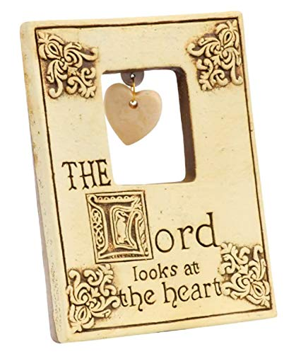 A&T Designs The Lord Looks at The Heart - Christian Religious Inspirational Saying Mini Ceramic Plaque Decorative Art - Home, Office Decor, Gift