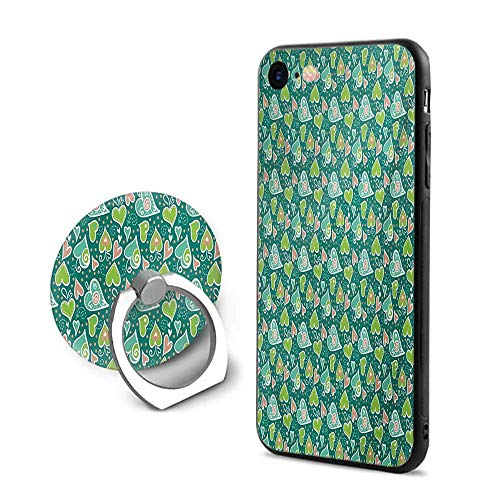 Valentines iPhone 7/iPhone 8 Cases,Abstract Hearts with Scroll Inspired Childish Design and Dots Apple and Jade Green Peach,Mobile Phone Shell Ring - Jade Scroll
