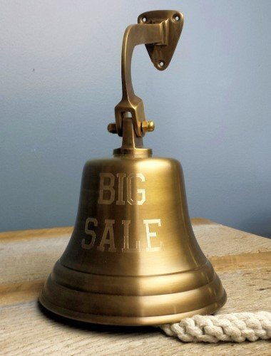 Engraved Big Sale Bell in Antiqued Brass Finish (7-inch -