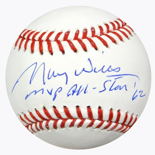 Maury Wills Signed Rawlings Official Major League Baseball Los Angeles Dodgers MVP All-Star '62 - PSA/DNA Authentication - Autographed MLB Baseballs
