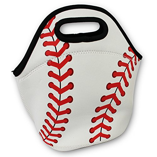 Baseball Zipper Cooler Lunch Bag Insulated Gifts Washable Neoprene