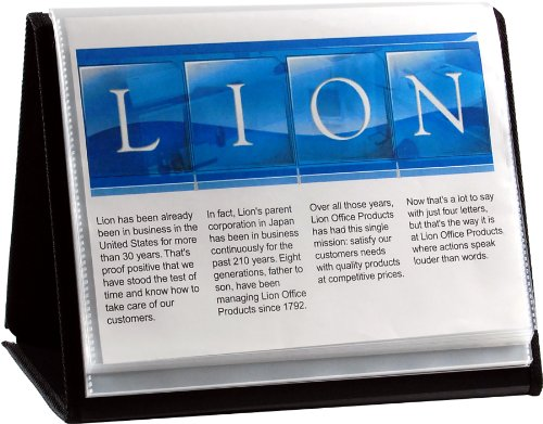 Lion Flip-N-Tell Display Book-N-Easel, Letter, 20-Pocket, Horizontal, 1 Easel Display Book (39008-H)