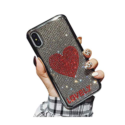 Fusicase for iPhone 6/iPhone 6S Case Luxury Fashion Glitter Sparkle Bling Crystal Rhinestone Artificial Diamond Lovely Heart Cover Electroplate Bumper Case for iPhone 6/iPhone 6S