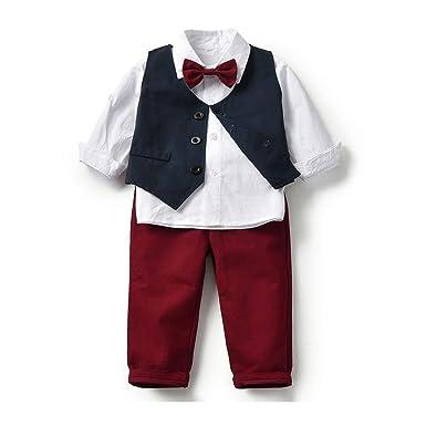Baby Boys Suit Conjunto de 4 Piezas Camisa de Manga Larga con ...