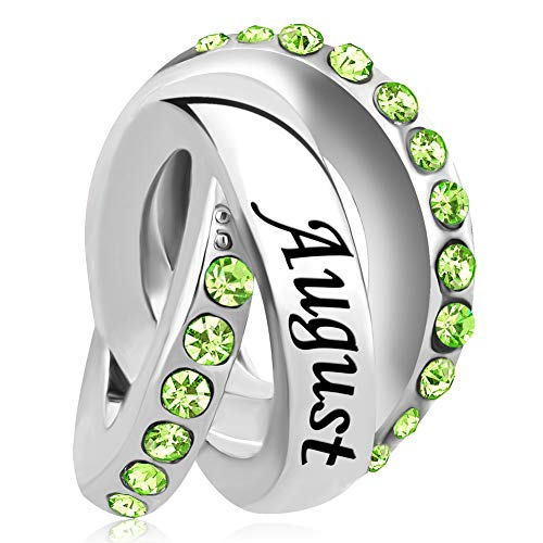 LovelyJewelry April Birthday Simulated Birthstone Charms for Snake Chain Bracelets -
