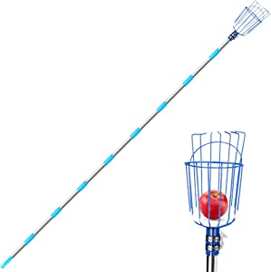 Achort Fruit Picker Tool, 13-Foot Fruit Picker with Light-Weight Aluminum Telescoping Pole and Basket, Fruit Grabber Easy to Assemble, Use Fruits Catcher Tree Picker for Getting Apple, Fruits Tree