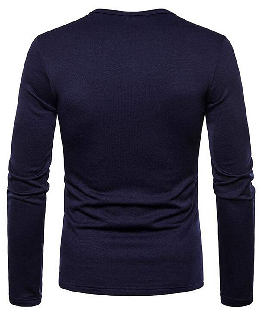 Jotebriyo Mens Solid Color Fleece Lined Long Sleeve Casual Warm Henley Shirts