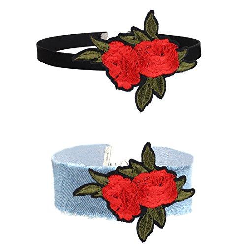 Tpocean 2Pcs Women's Gothic Tatto Punk Boho Black Velvet Denim Embroidery Red Rose Flower Choker Necklaces Set Adjustable for Women Girls