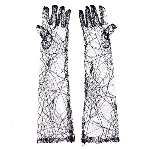 LUOEM Lace Spider Web Golves Halloween Cosplay Costume Supplies for Halloween Party and More(Black)