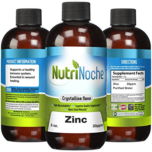 NutriNoche Liquid Zinc - Best Zinc Supplement - Colloidal Minerals - 30 PPM 8 oz Bottle - Highly Absorbable Zinc Supplement