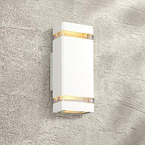Skyridge Modern Outdoor Wall Sconce Fixture White 10 1 2 Clear Glass Up Down for Exterior House Porch Patio Deck – Possini Euro Design