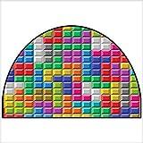 Semicircle Area Rug Colorful Retro Gaming Computer Brick Blocks Image Puzzle Digital 90s Play Color Indoor/Outdoor Semicircle Area Rug W31 x H20 INCH