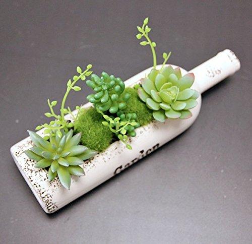 urtoys 1pcs Ceramicsワインボトル形状人工fleshinessセット多肉植物植物庭Micro Landsクラフト装飾花ホームバルコニー装飾用( atランダムスタイル B074QKKLJX