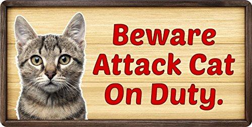 (StickerPirate 148HS Beware Attack Cat On Duty 5
