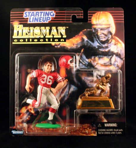 STEVE OWENS / UNIVERSITY OF OKLAHOMA SOONERS * 1997 NCAA College Football HEISMAN COLLECTION Starting Lineup Action Figure, Football Helmet & Miniature 1969 Heisman Memorial Trophy