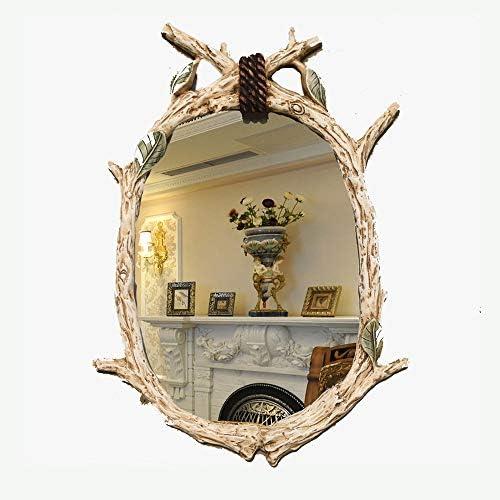 CAICOLOR 大きなヨーロッパの模造の木の美容ミラーガーデンのメイクアップミラーポーチ装飾的なミラー (色 : ベージュ)